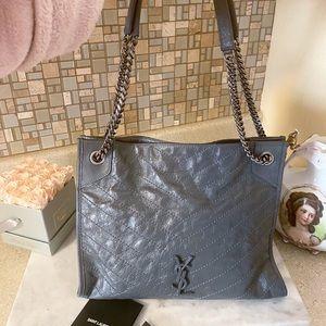 Auth. Saint Laurent Grey Medium Niki Chain Bag